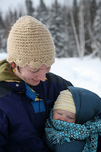 Mom Ali and Redden looking all warm and bundled up for the hike.