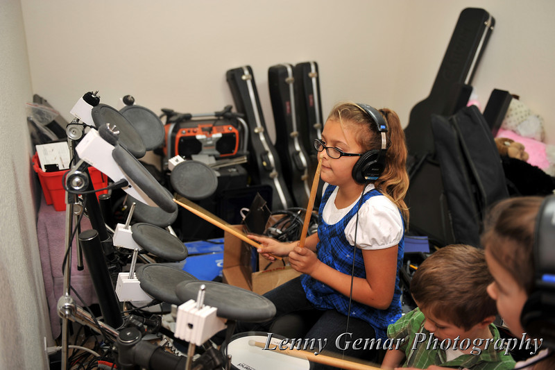 Rockin' out on the Roland electronic drums.