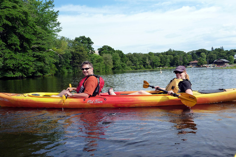 Nancy and Ladd kayaking on the Charles River