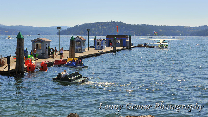 Coeur d'Alene events pier.  You can rent a boat, take lake cruises and scenic flights, or go para-sailing.
