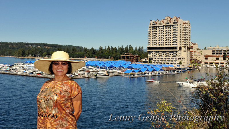 Claire and the Coeur d'Alene Resort marina.
