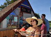 Getting shave ice at the Tiki Hut.  Hang loose, bra...