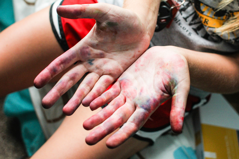 Tie Dye<br /> Hands after tie dying volleyball tshirt.