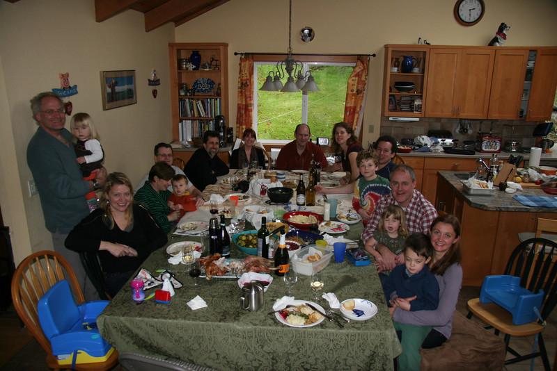 Megan, Sean, Emilie, Julie, Sharky, Craig, Adam, Catherine, Nigel, Dana, Matthew, Ben, Dave, Anna (funny face), Pauline, Lewis (already in a turkey coma).