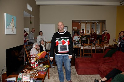 It's hard to see, but that sweater holds an iPad and it's tuned to a fireplace scene.