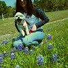 Molly yawning; guess we were more excited about the bluebonnets than she was.