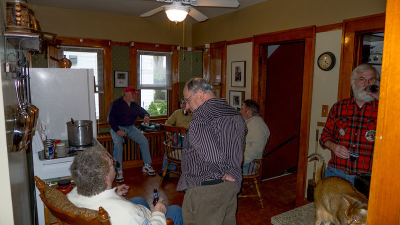 Of course, everybody always congregates in the kitchen.  This year Tom Mott made his first appearance.