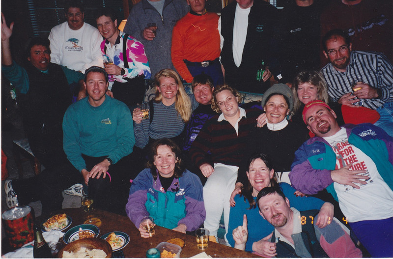 Inskiers Cabin on Martis Dr., Truckee -  '00<br /> 1r Linda, Marcy, Mike, 2r Craig, Pam, Craig, ?, Alicia, ?, Ed, Gordy, 3r Phil, Morton, Dave