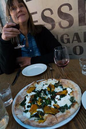 At Saraghina: Divine Pizza, wine—what more could you want?