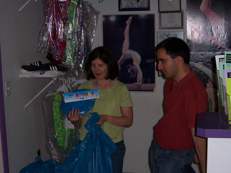 Arron's mom Meyls getting things organized.