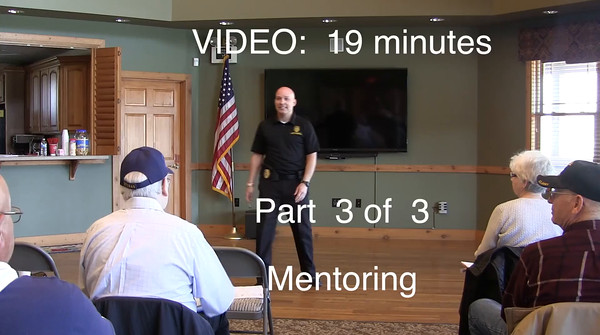 VIDEO:  20 Minutes - Part 3 of 3 -- Mentoring -- Click on image above and then on triangle and video will play.
