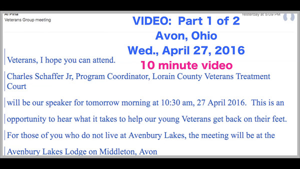 VIDEO:  Part 1 of 3 - (Not 1 of 2)  -- 10 minutes -- Mentor Program -- Click on image above and then on triangle and video will play.