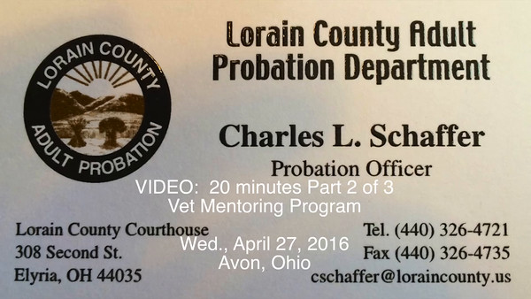 VIDEO:  20 minutes -- Mentoring - Part 2 of 3 -- Avon, Ohio, Wed., April 27, 2016 -- Click on image above and then on triangle and video will play.-