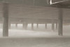 The legs of the station during a storm.