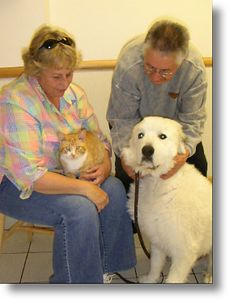Hougan goes home,  6-2-04<br /> Hougan is one happy cat.  He looovvvves this  big guy who isn't too sure of him yet.