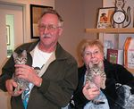 The two little spotted PixieBob cross Kittens adopted into a wonderful home on 12-1-04.