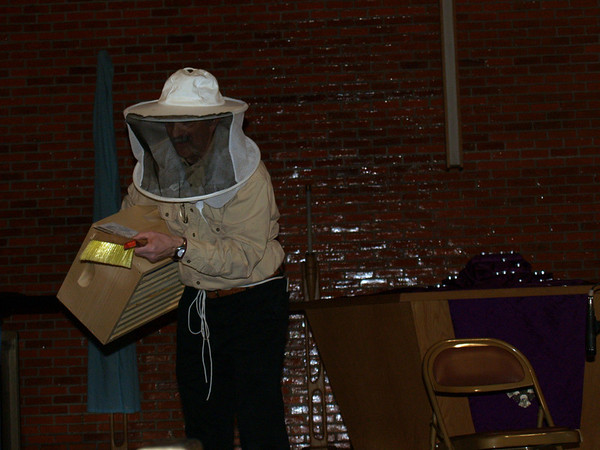 Alf showing his bee-keeping stuff
