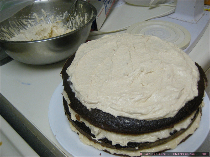 """The cake in the making, which was later aptly described by Luis as """"a big moonpie"""". :P"""