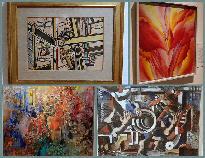 The permanent collection, comprises more than 6000 artworks, spans the time period from 3500 BCE to the present. (Clockwise, from Upper Left, Les Constructeurs (Construction Workers),Fernand Leger, French (19881-1955);  Red Canna, Georgia O'Keefe,1925-28, American (1887-1986); Man and Machine, Irene Rice Deneira, American (1902-1971);Leorande Place 1958, Minda Hess (American b. 1906).