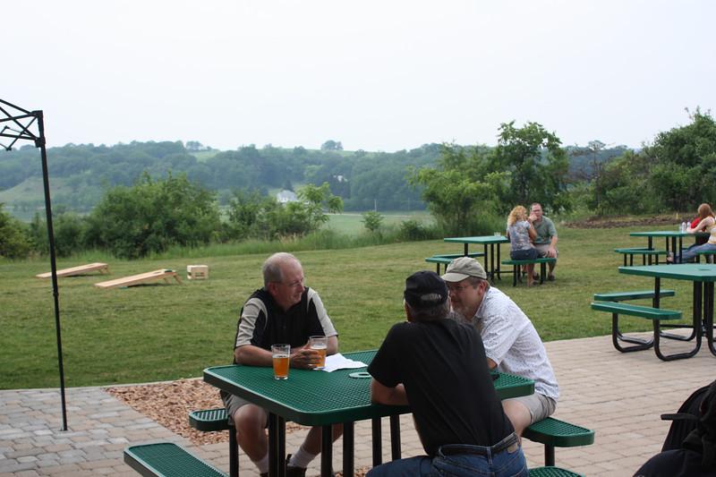 In the beer garden.