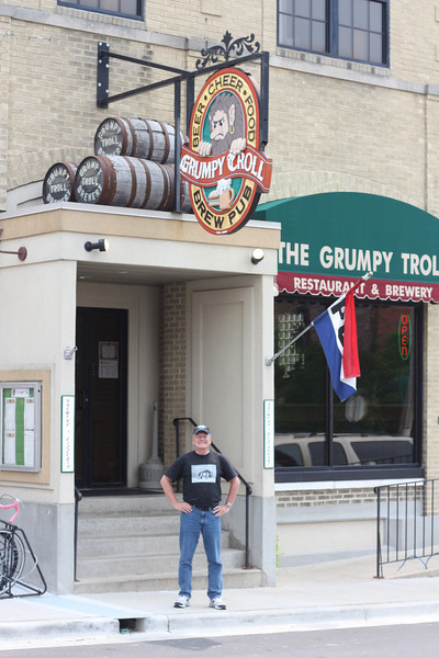"Our first beer stop, ""The Grumpy Troll,"" in Mount Horeb."