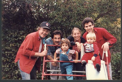 Mr. J, Randy & Ben Shandobil, Lissa, Johah and David Meadows.  At Randy's place in Oakland circa early eighties.