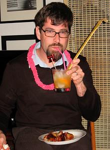 Joel enjoying his fancy cocktail