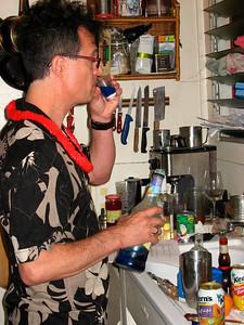Blake making cocktails