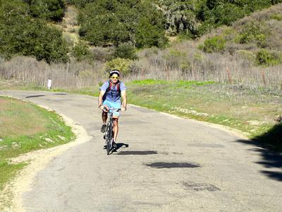James riding down Drum Canyon