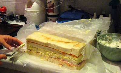 Frosted sandwich loaf with egg salad, ham salad & cheddar cheese. Great job, Melanie!