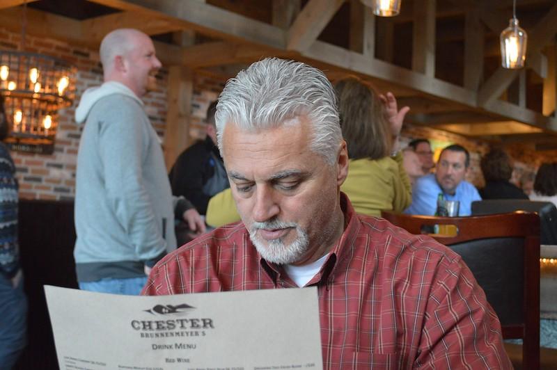 David reading menu at Chester's