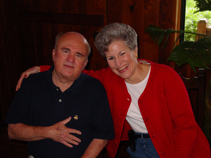 Bob poses with Janis Erikson.  Janis' husband, Jerry, was another wonderful member of our April group.  He died in May of 2004, leaving a void in our group -- as does Bob's passing.  The Gordons and the Eriksons were special friends.