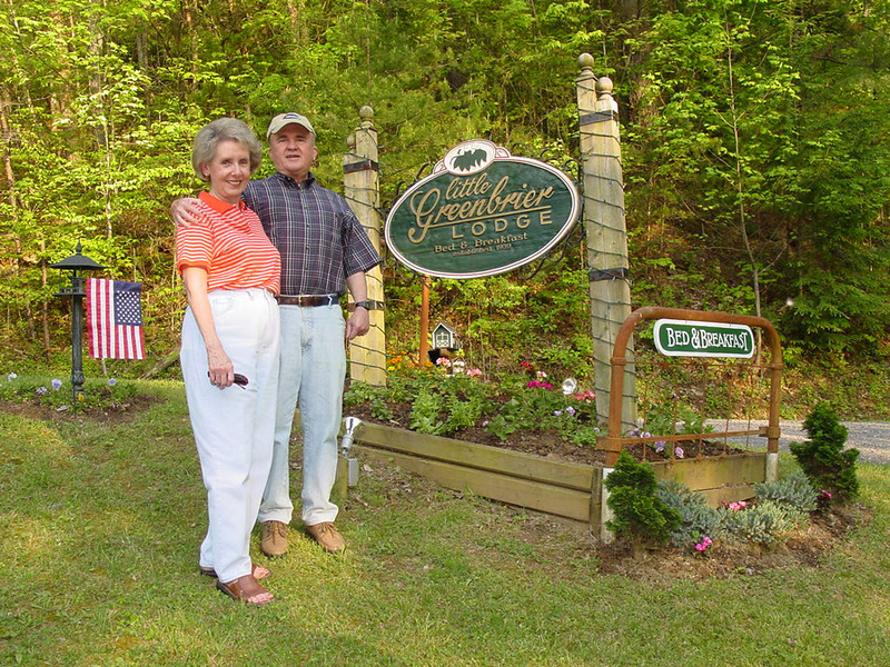Jimmie Ray and Bob at the entry to the Little Greenbrier Lodge near Townsend, Tennessee.  (NOTE:  You may click on each photograph to access a larger image.)