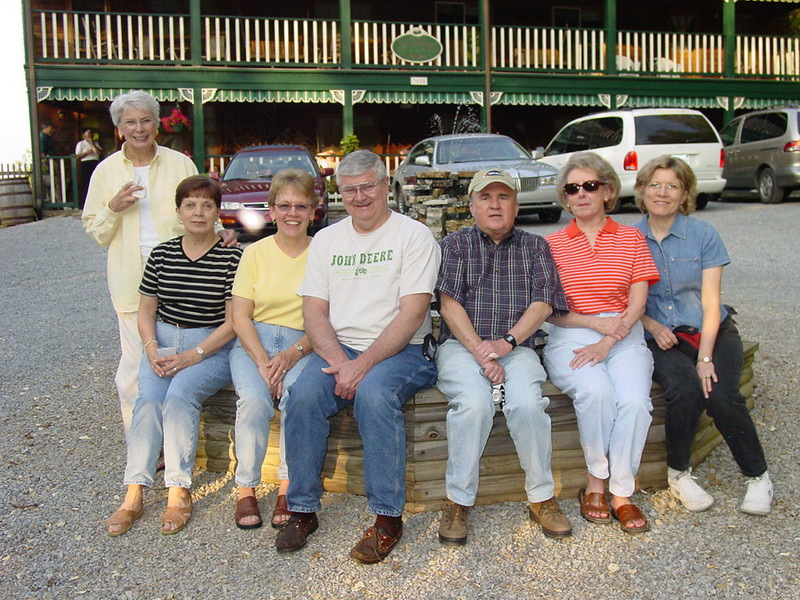 In front of the Little Greenbrier Lodge, this is Neallia Tanner, Carol Casey, Karen Miller, Pat Vaught, Bob & Jimmie Ray Gordon, and Linda Vaught.