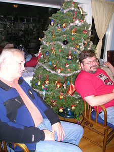 Paul and Pete by the Christmas tree.