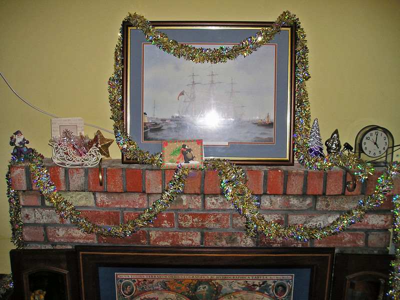 S&M's Christmas fireplace.