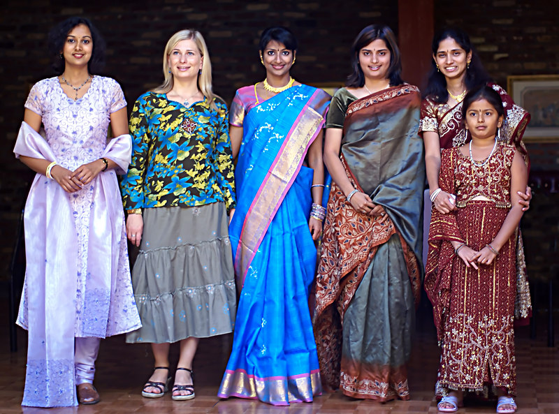 The ladies in traditional colors<br /> Ramya, Mila, Amrutha, Shilpa, Sailaja & Sumana
