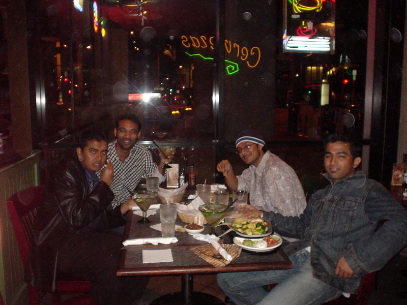 Brad, Prasanth, I and Kiran have dinner before we get to the bash @ XYZ bar in Hotel W