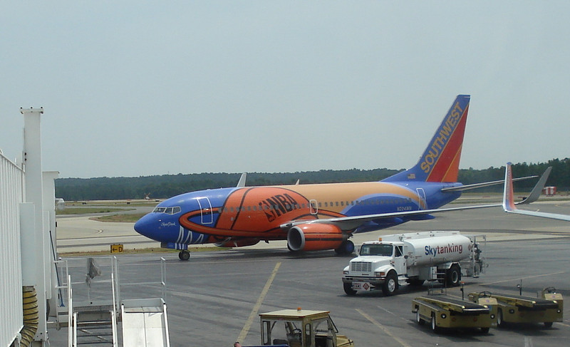"""Southwest Airlines """"Slam Dunk"""" airplane."""