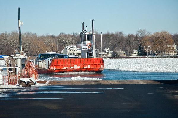 Champion Ferry crossing the ice packed North Channel river