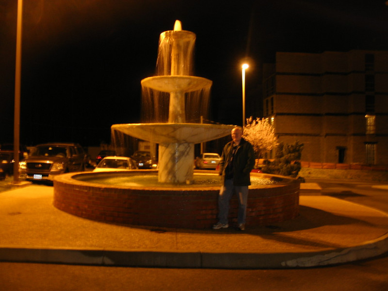 On Friday, Matt and I drove to Annville where I met Kevin and Emily. Kevin drove us to Williamsburg. Along the way, we got a glimpse of  Fahrenheit and the site of Williams Grove Park. Kevin used the HOV lane when available and we reached our hotels by midnight. Matt stands by the fountain at the Comfort Inn Historic Area.