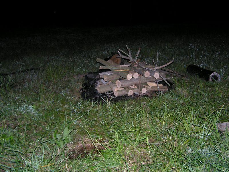 The unlit bonfire