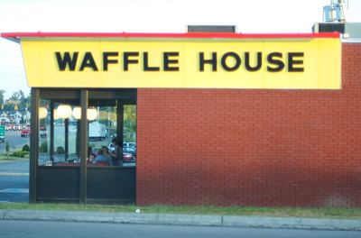 """DQ drive-thru -- view of the Mt. Juliet Waffle House, sight of the infamous """"Christina-throwing-up-in-the-parking-lot-after-a-wedding"""" event of the old college days"""