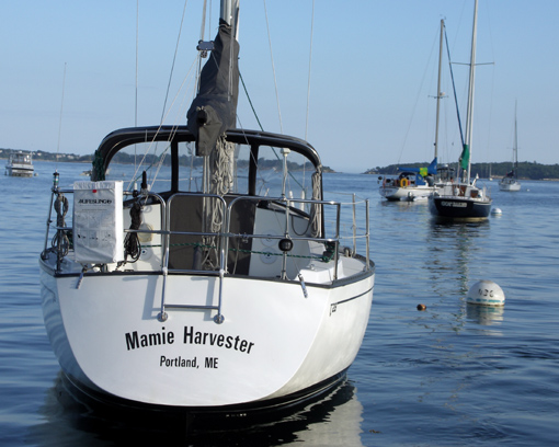Keith's sailboat, the Mamie Harvester