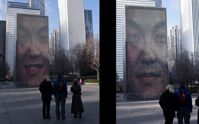 The fountain in Millennium Park has a constantly changing face