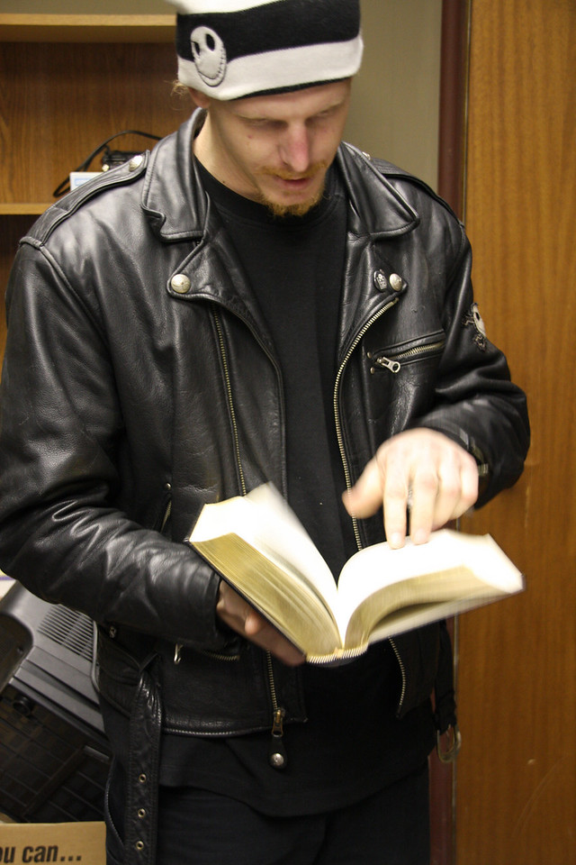 Randall reads up on a little Poe.