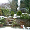 A very snowy back garden.