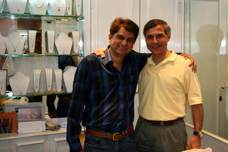 My Mumbai friend of 15 years, Chris, with me in his jewelry store in the Oberoi Hotel in Mumbai, India.  An honest, noble, caring and truly decent man, Chris passed away in March 2007 and left the world a lesser place.  God be with you, my friend.