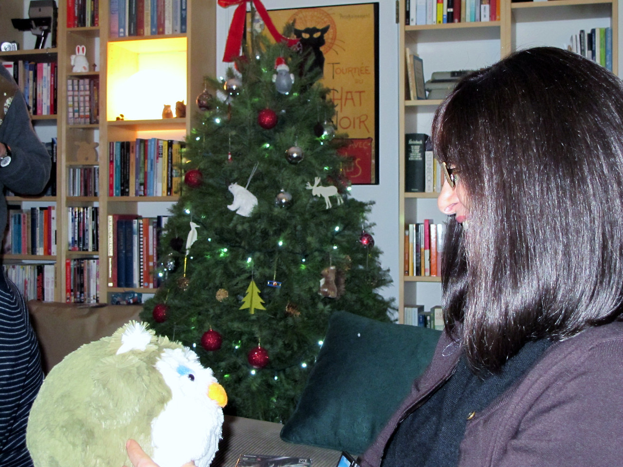 Dave's mom & her stuffed owl.