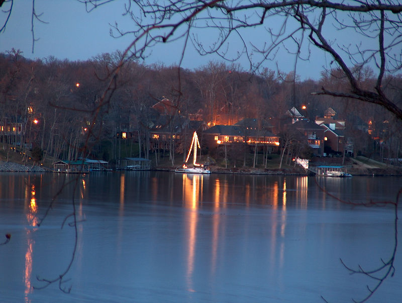 Christmas decorations across the lake